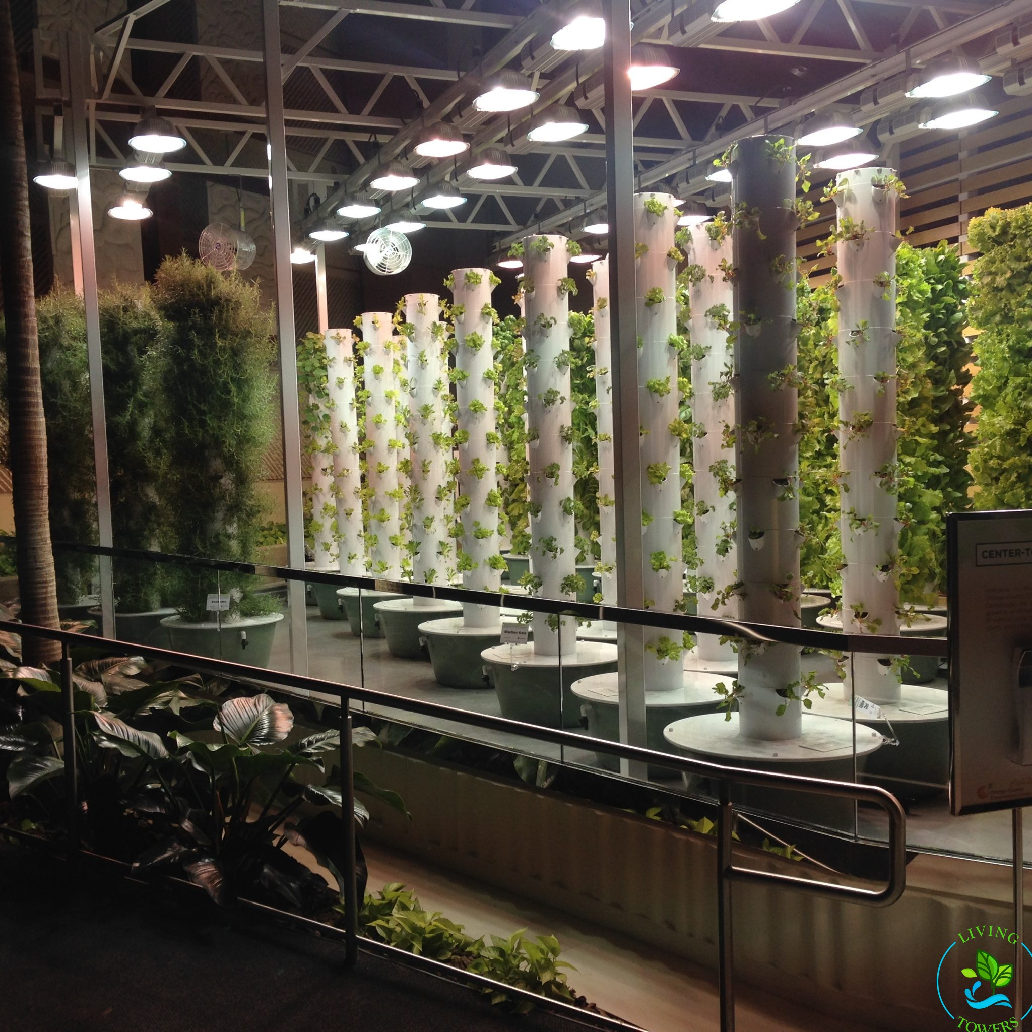 Tower Gardens under Grow Lights at the Orange County Convention Center